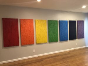 Ode to Spectrum (7 panels, 2′ X 4′) acrylic on canvas)
